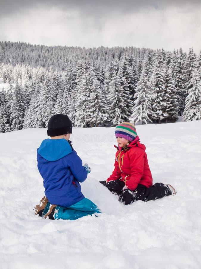 Młode dzieci bawić się w śniegu zdjęcie stock