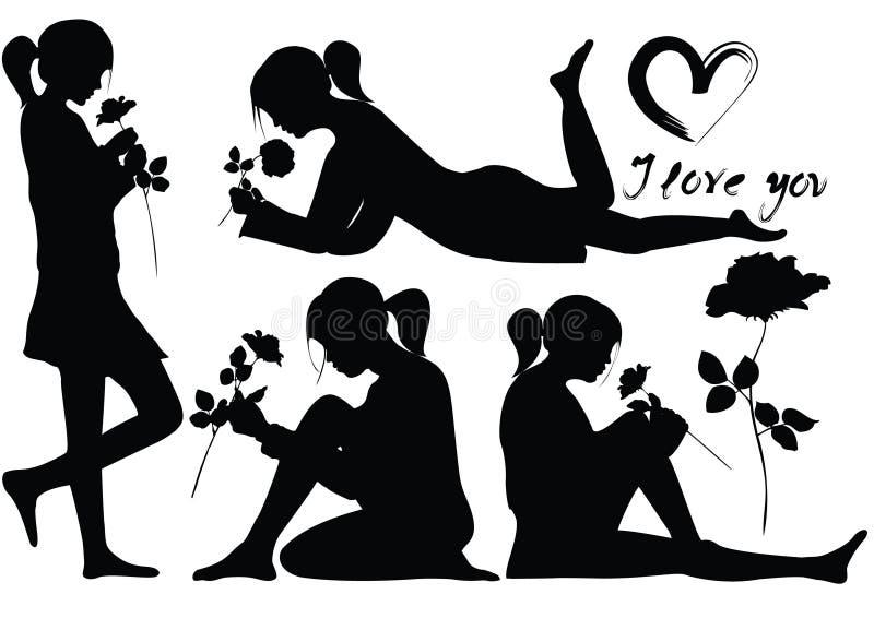 młode dziewczyn sylwetki romantyczne różane royalty ilustracja