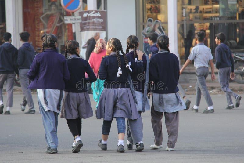 Młode Dziewczyny chodzą wpólnie uczęszczać szkoły zdjęcie royalty free
