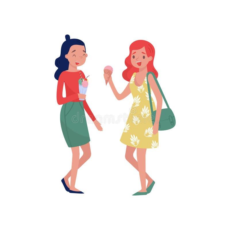 Młode dziewczyny stoi z lody w rękach i śmiać się Smakowity lato deser Uliczny fast food Płaski wektorowy projekt ilustracja wektor