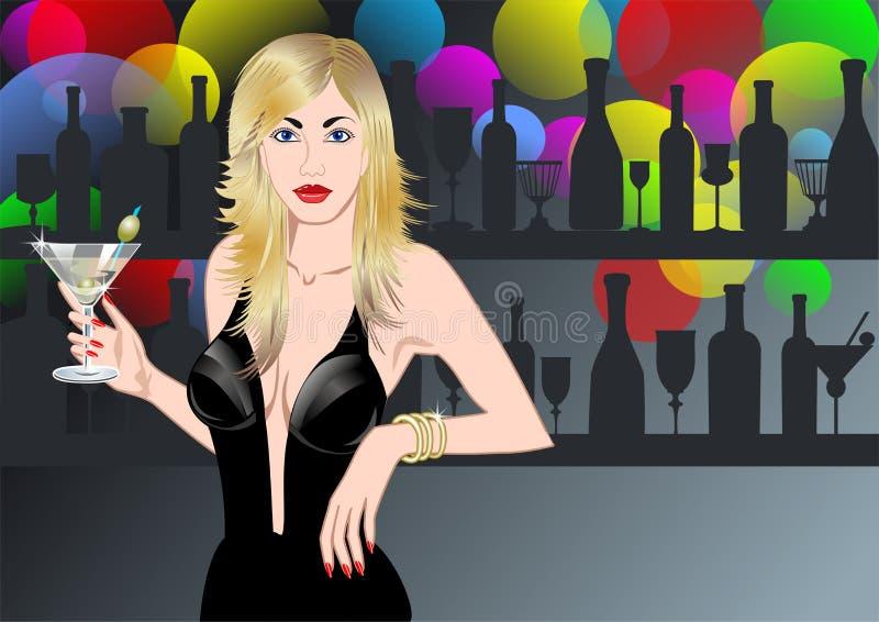 młode kobiety szklane Martini ilustracja wektor