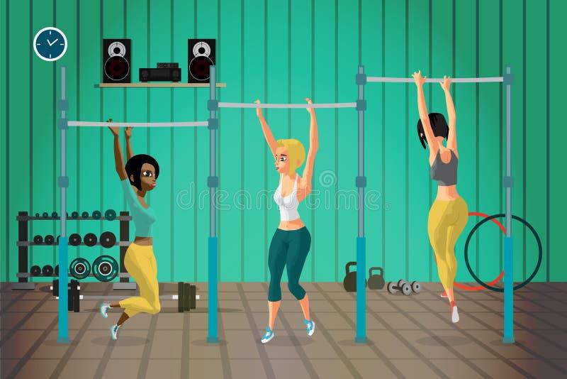 Młode kobiety w sporta odzieżowym obwieszeniu na horyzontalnym barze ilustracji