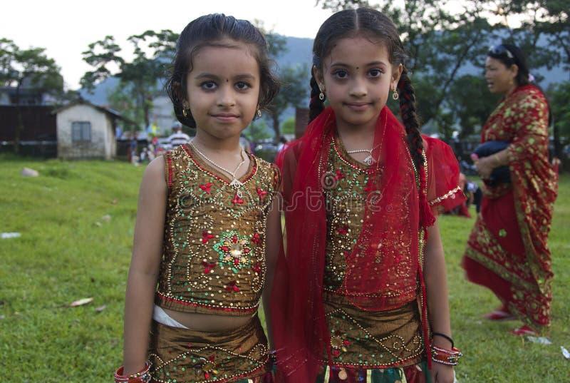 Młode Nepalskie dziewczyny Świętuje Tej fotografia royalty free