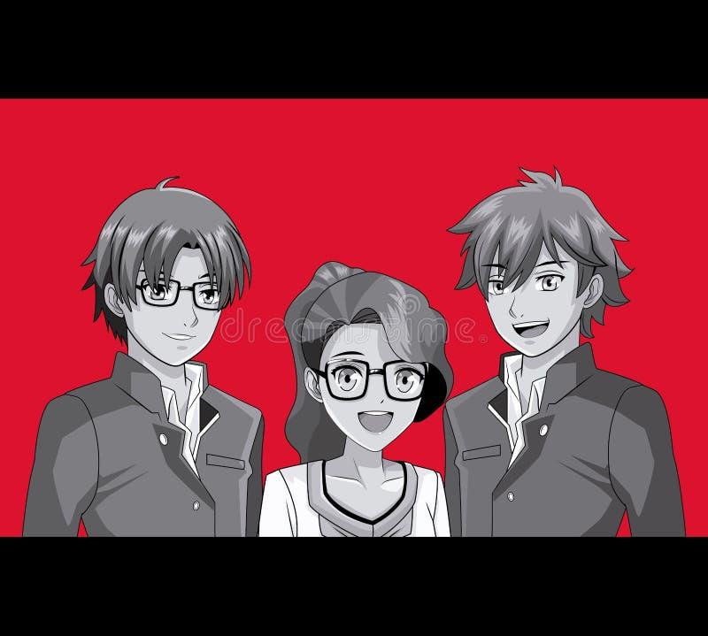 Młode przyjaciela manga kreskówki royalty ilustracja