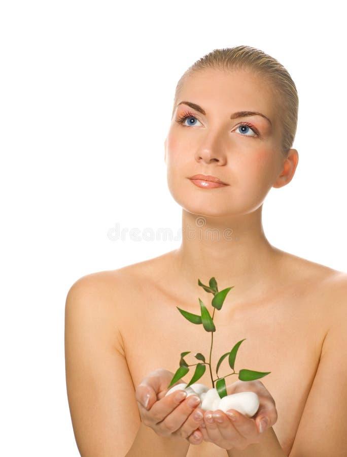 młode rośliny dziewczyny gospodarstwa zdjęcia royalty free