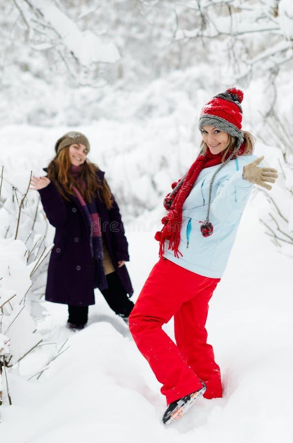 Młode szczęśliwe kobiety plenerowe w zimie zdjęcia royalty free