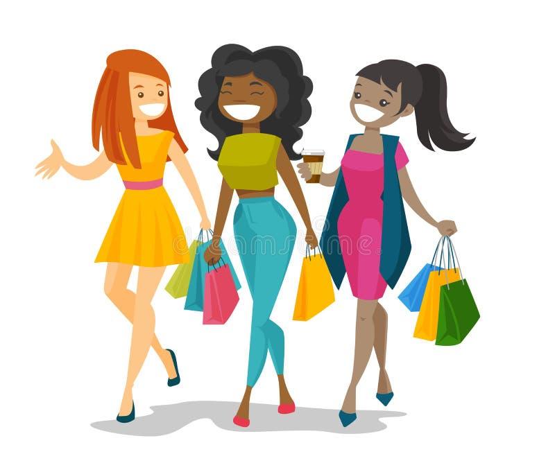 Młode szczęśliwe wielokulturowe kobiety robi zakupy wpólnie ilustracji