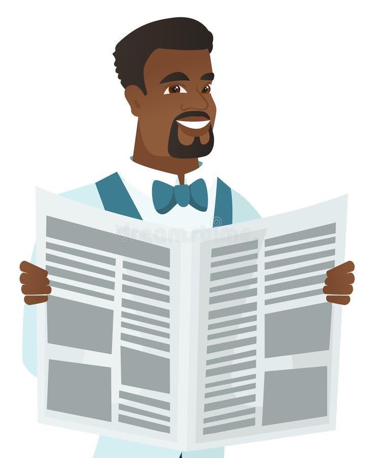 Młodego afroamerykańskiego fornala czytelnicza gazeta ilustracja wektor