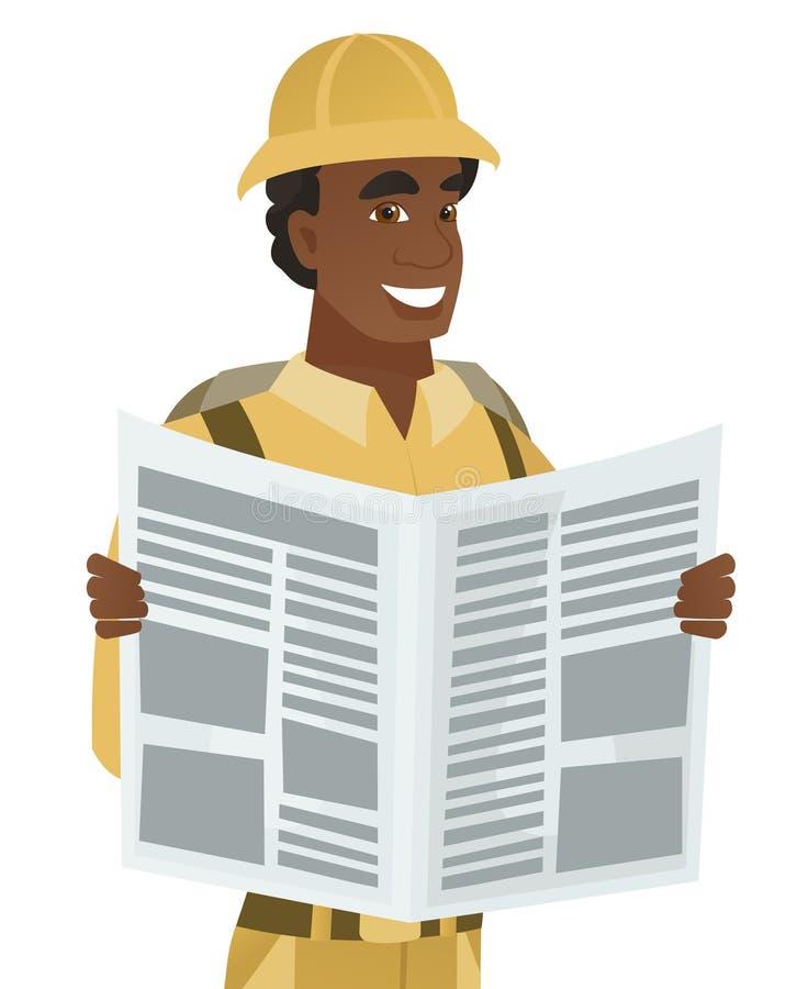 Młodego afroamerykańskiego podróżnika czytelnicza gazeta ilustracji