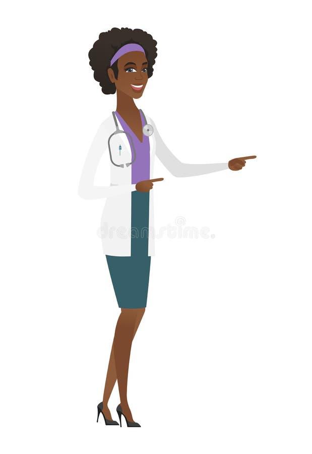 Młodego afroamerykanina doktorski wskazywać strona ilustracji
