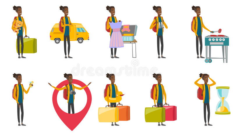 Młodego afrykańskiego podróżnika wektorowe ilustracje ustawiać royalty ilustracja