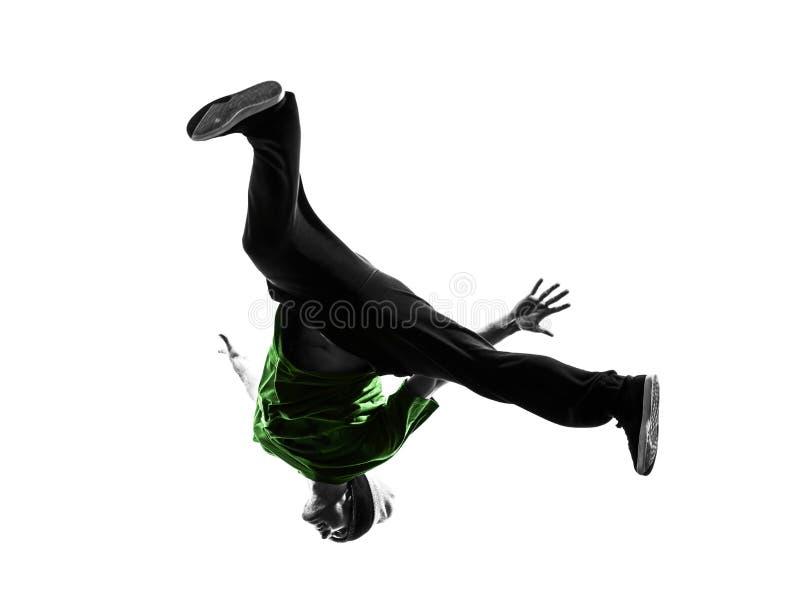 Młodego akrobatycznego przerwa tancerza mężczyzna breakdancing sylwetka zdjęcie royalty free
