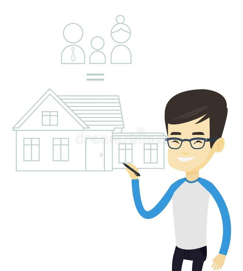 Młodego azjatykciego mężczyzna rodziny rysunkowy dom royalty ilustracja