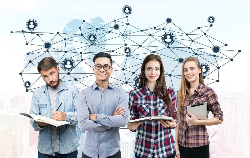 Młodego biznesu drużynowa i światowa mapa, sieć zdjęcie royalty free