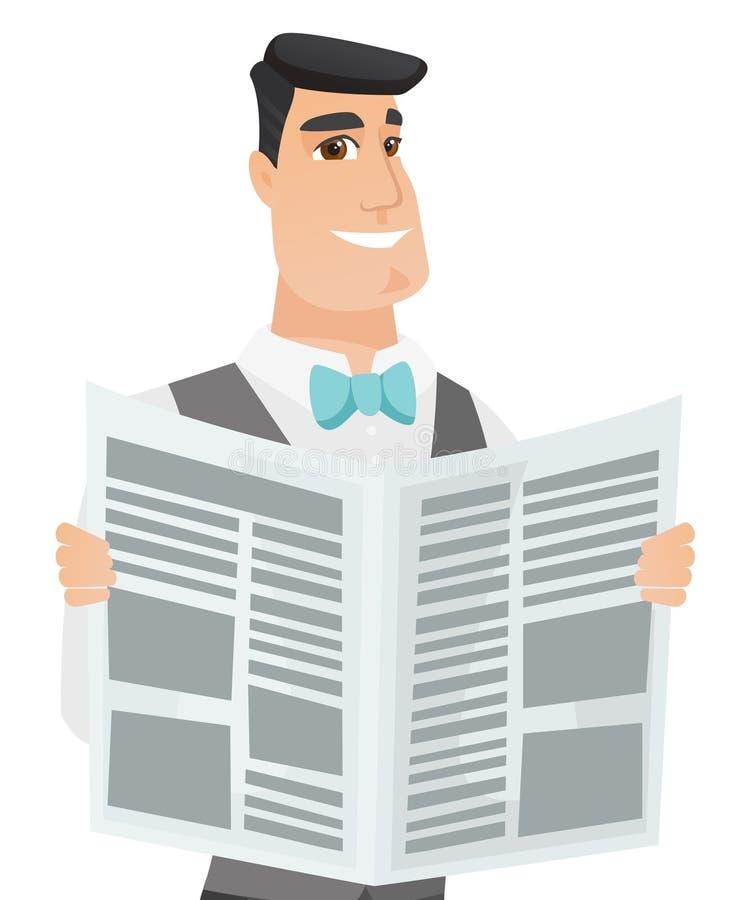 Młodego caucasian fornala czytelnicza gazeta royalty ilustracja