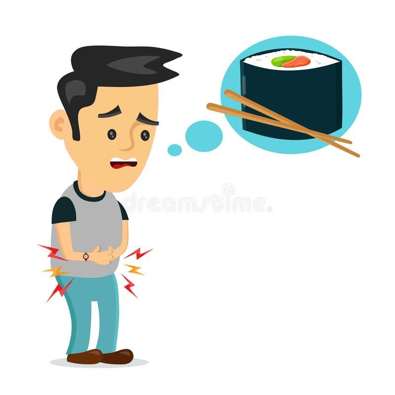 Młodego cierpienia smutny mężczyzna jest głodny ilustracja wektor