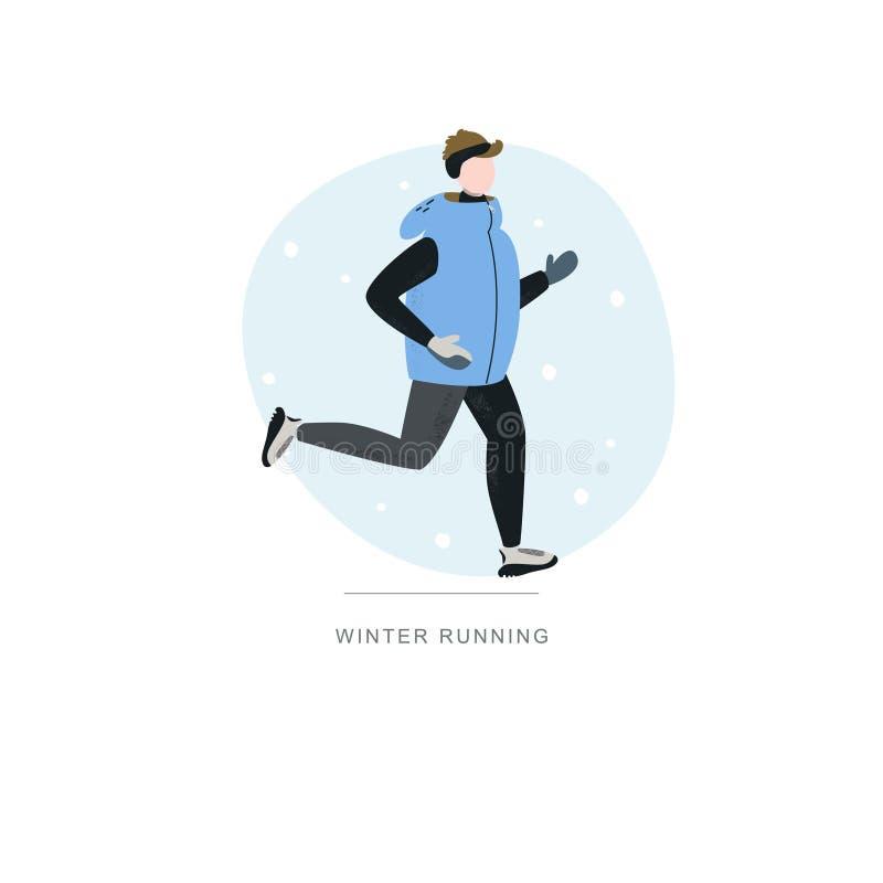 Młodego człowieka bieg w zima zimnym sezonie Handdrawn wektorowa ilustracja royalty ilustracja