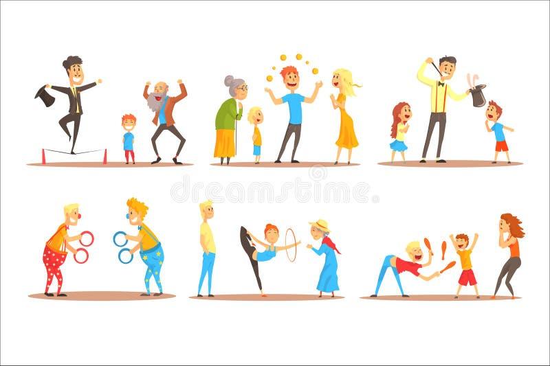 Młodego człowieka charakter żongluje z pomarańczowymi piłkami przed szczęśliwymi ludźmi Cyrkowego lub ulicznego aktora kolorowa k ilustracji