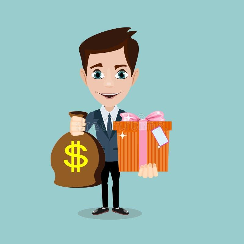 Młodego człowieka chwyt torba z dolarami i prezentem, ilustracja wektor