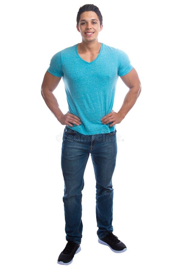 Młodego człowieka ciała mięśniowego trwanie pełnego portreta mu uśmiechnięci ludzie zdjęcia stock