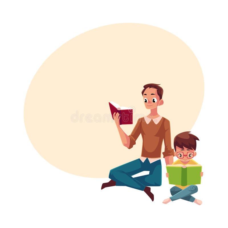 Młodego człowieka i chłopiec czytelnicze książki siedzi nogi krzyżować ilustracja wektor