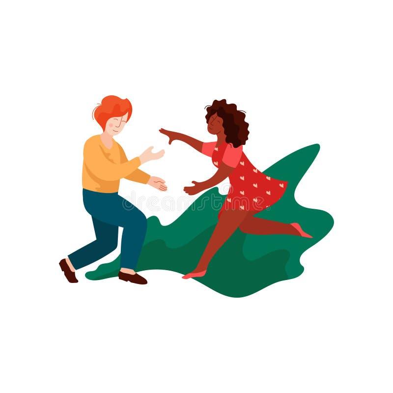 Młodego Człowieka i kobiety bieg dla Each Inny, Wielokulturowa Romantyczna para, Szczęśliwi kochankowie na Daktylowej Wektorowej  ilustracji