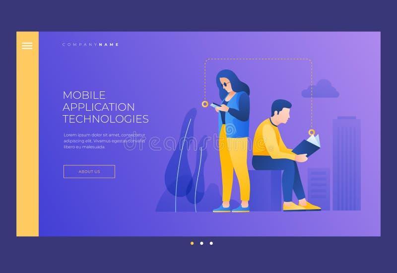 Młodego człowieka i kobiety czytelnicza książka od twój telefonu ekranu i pojęcia uczenie czytanie ilustracji