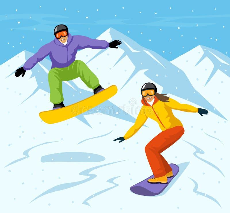 Młodego Człowieka i kobiety jazda na snowboardzie w górach ilustracja wektor