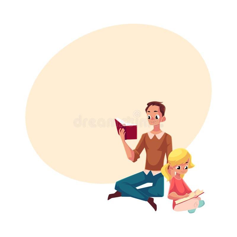 Młodego człowieka i małej dziewczynki czytelnicze książki siedzi nogi krzyżować ilustracja wektor