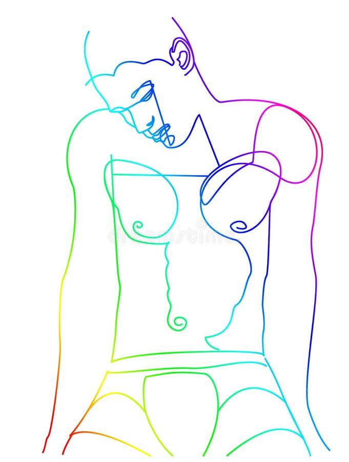 Młodego człowieka linedrawing z tęczą barwi 1/3 ilustracji