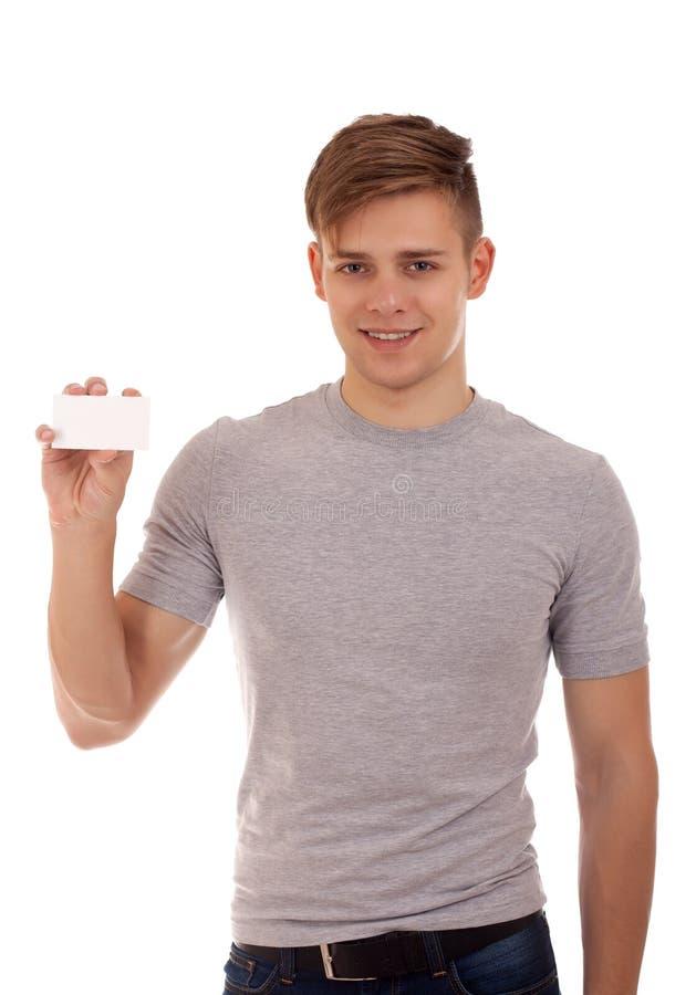 Młodego człowieka mienia businesscard zdjęcie royalty free