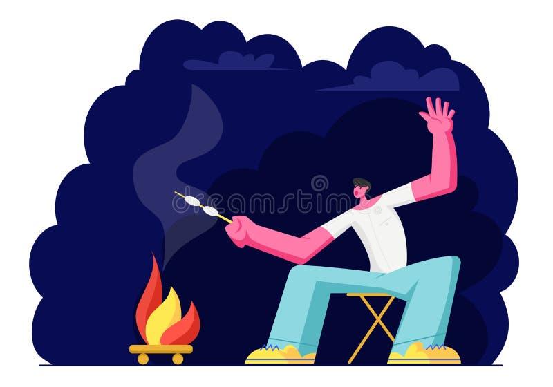 M?odego Cz?owieka obsiadanie przy ogniskiem przy Nighttime i Sma?y? Marshmallow Turysta w obozie letnim Podr royalty ilustracja