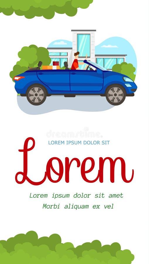 Młodego Człowieka obsiadanie w Otwartym Błękitnym samochodzie na miasto widoku ilustracji