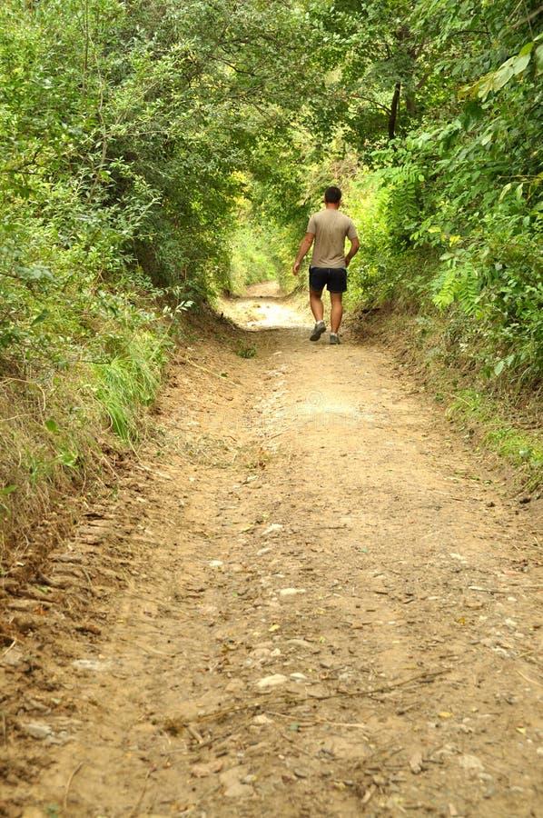 Młodego człowieka odprowadzenie na wsi drodze zdjęcie royalty free