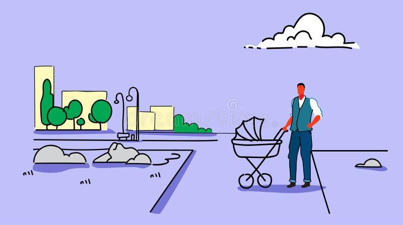 Młodego człowieka odprowadzenie z spacerowicza ojcem pcha nowonarodzonego dziecko frachtu miasta parka pejzażu miejskiego tła ple ilustracja wektor