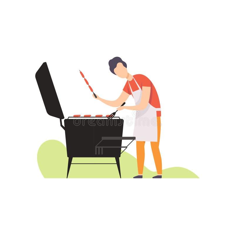 Młodego człowieka opieczenia kiełbasy na grillu piec na grillu wektorową ilustrację na białym tle ilustracja wektor
