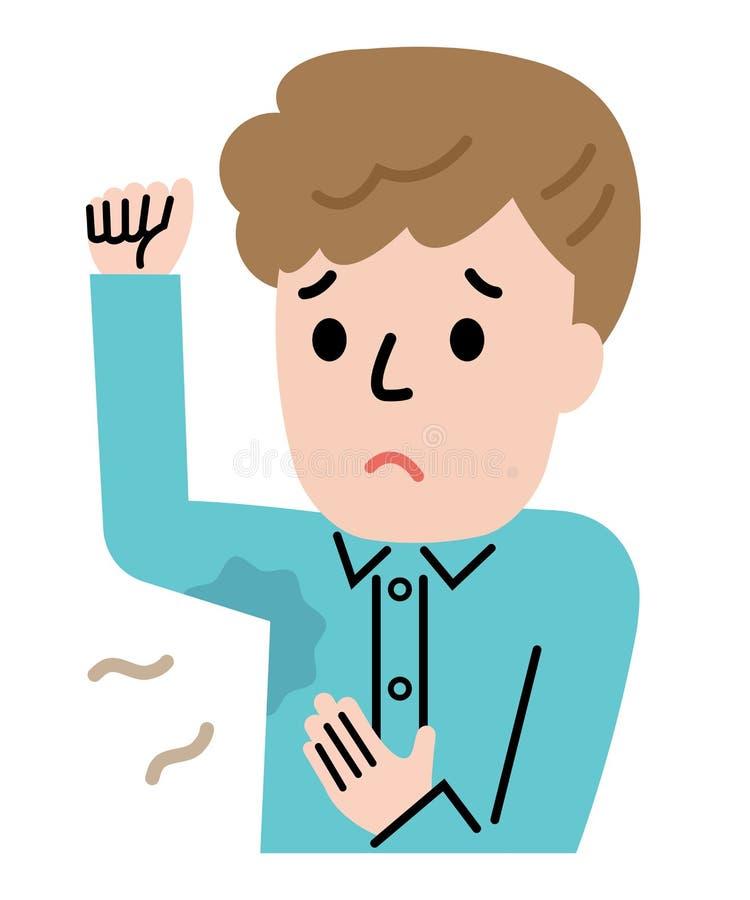 Młodego człowieka pocenia pacha Higieny i opieki zdrowotnej poj?cie ilustracji