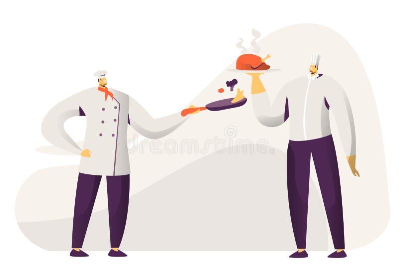 M?odego Cz?owieka szef kuchni i Sous szef kuchni Toque, fartucha i kurczakiem i nieck? z warzywami w r?ki tacy z w mieniu ilustracja wektor