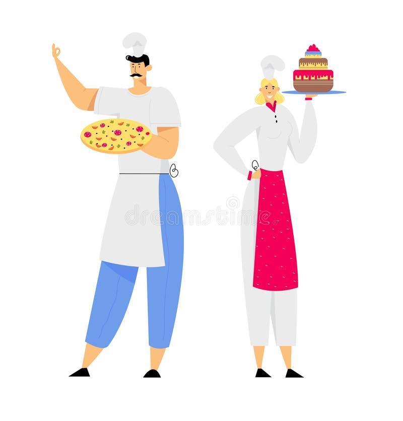 Młodego Człowieka szef kuchni w Toque i fartucha mienia pizzy w rękach, kobiety Sous szef kuchni z tortem, restauracja personel ilustracja wektor