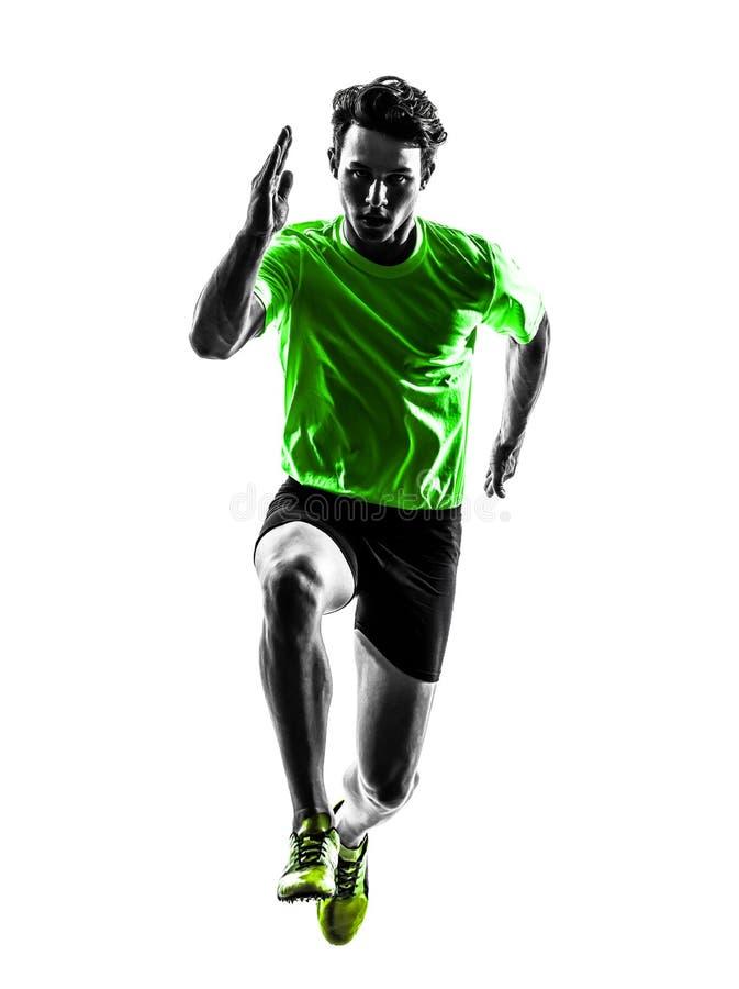 Młodego człowieka szybkobiegacza biegacza działająca sylwetka obraz stock