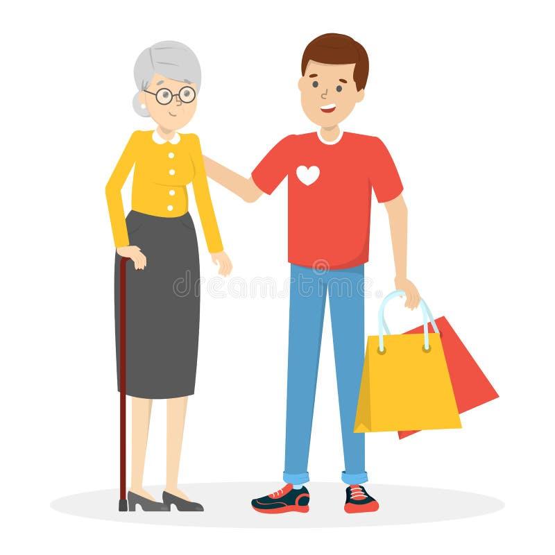 Młodego człowieka wolontariusza pomocy stara kobieta i niesie jej torbę royalty ilustracja