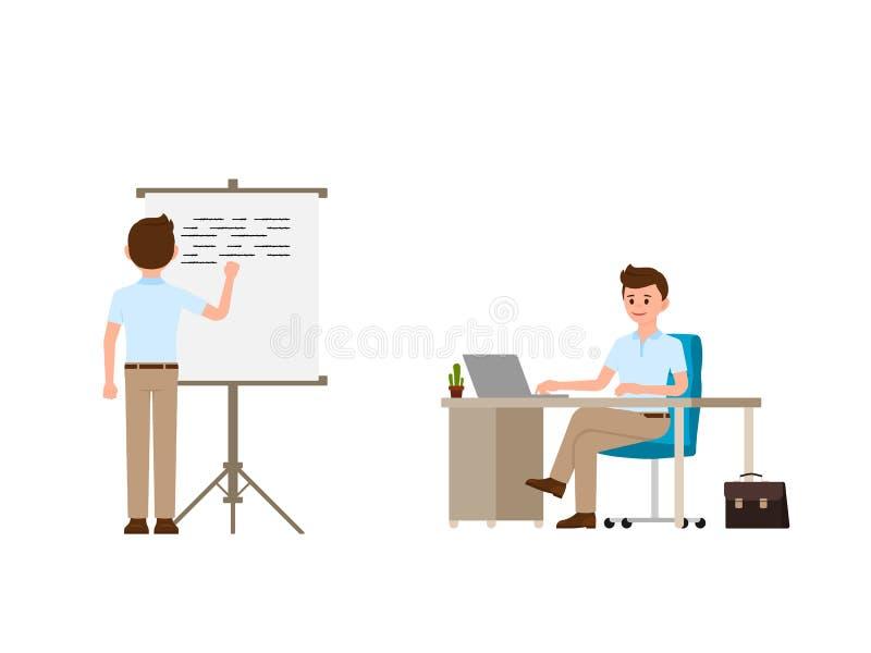 Młodego człowieka writing na whiteboard, siedzi przy biurowego biurka postać z kreskówki Wektorowa ilustracja pracujący dzień ilustracja wektor
