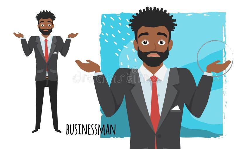 Młodego czarnego afrykanina biznesmena amerykańska wątpliwość, żadny pomysły Emocja niepewność i zamieszanie na facecie stawiamy  ilustracja wektor