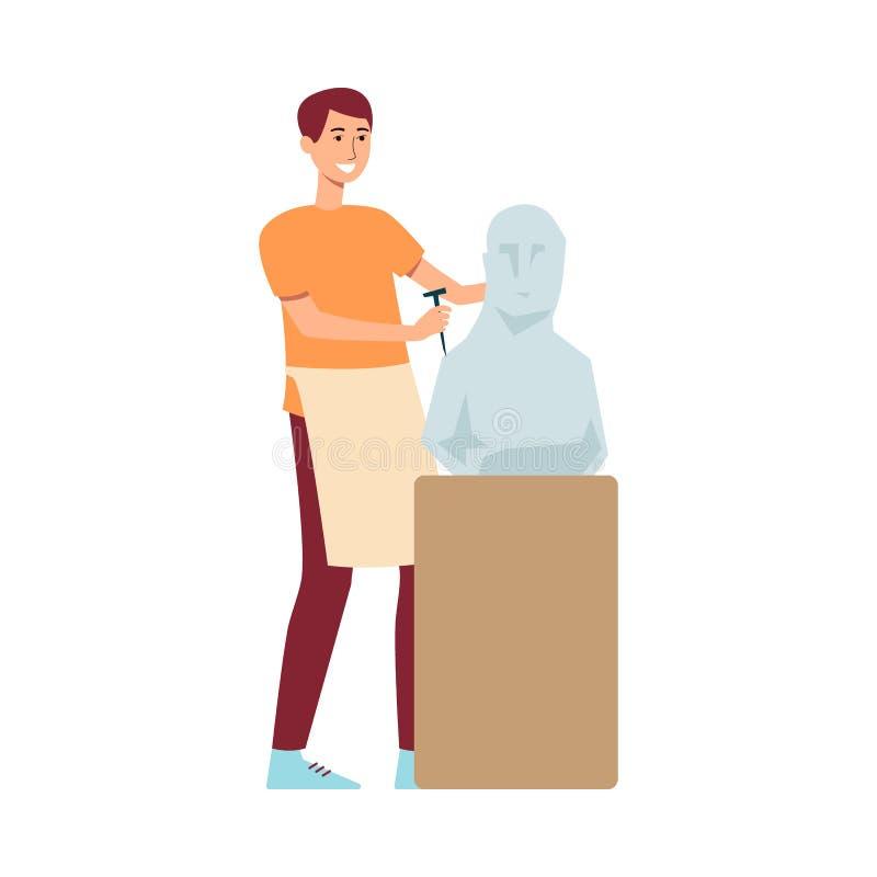 Młodego męskiego brązu z włosami rzeźbiarz w fartuchu tworzy rzeźbę robić kamień lub tynk na piedestale ilustracja wektor
