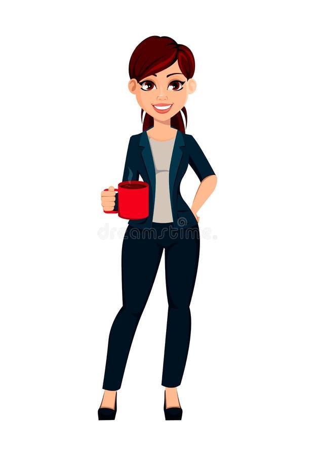 Młodego pięknego biznesowego womanYoung piękna biznesowa kobieta trzyma filiżankę gorący napój royalty ilustracja