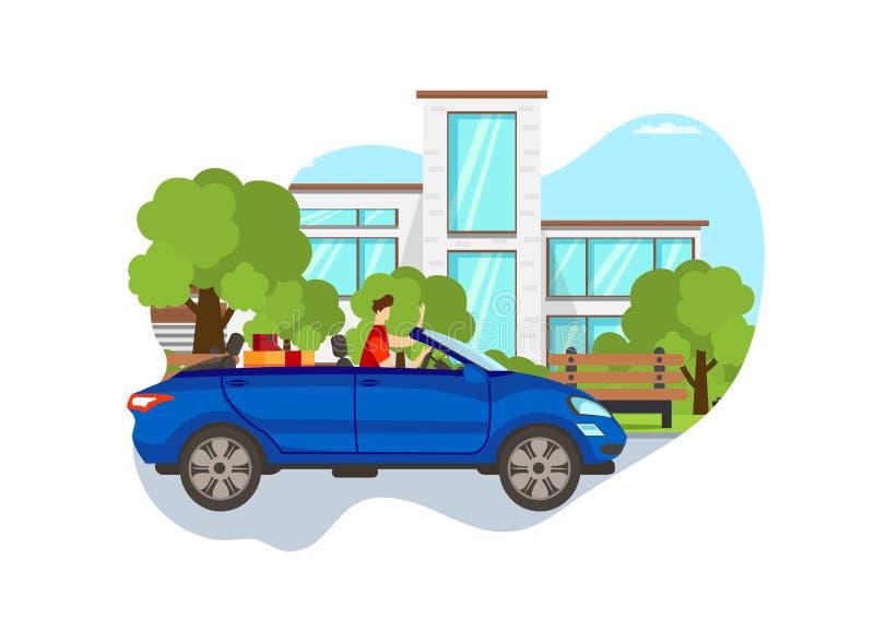 Młodego Przystojnego faceta Napędowy Luksusowy Błękitny sportowy samochód ilustracja wektor