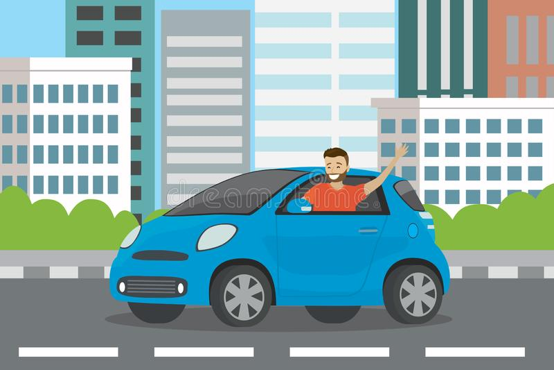 Młodego szczęśliwego caucasian mężczyzny auto kierowca jedzie w błękitnym samochodzie ilustracji
