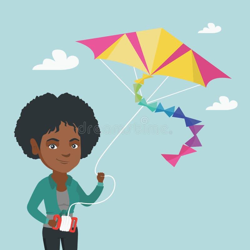 Młodej afroamerykańskiej kobiety latająca kania royalty ilustracja