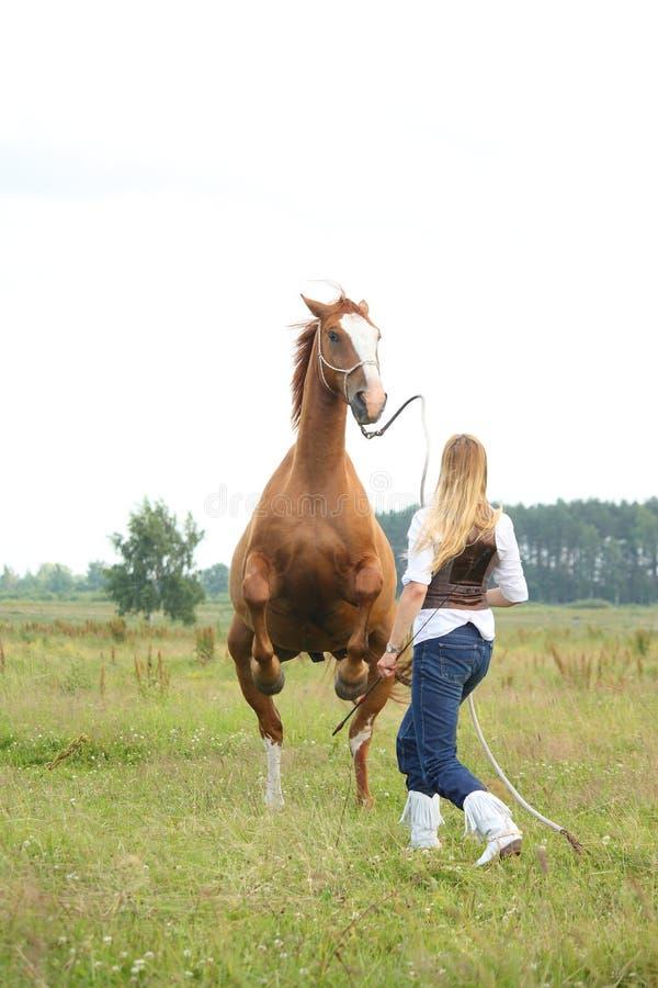Młodej blondynki kobiety dominujący koń fotografia royalty free