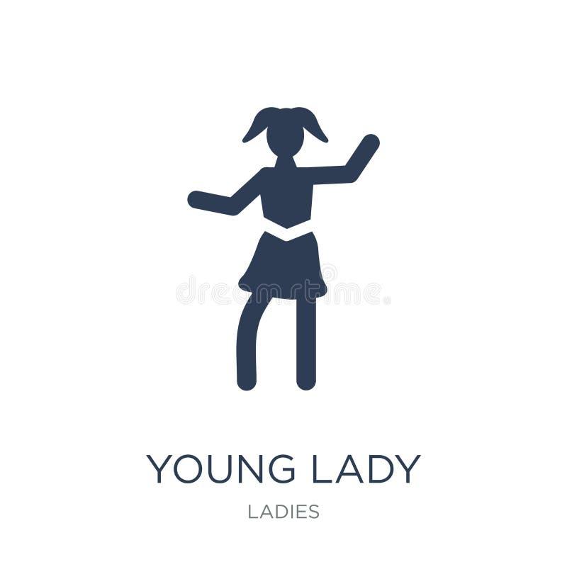 Młodej Damy ikona Modna płaska wektorowa młodej damy ikona na białym bac ilustracji